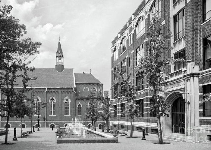 Catholic Greeting Card featuring the photograph Duquesne University Chapel And Canevin Hall by University Icons
