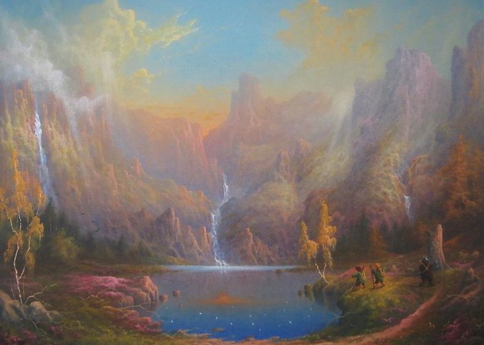 Tolkien Greeting Card featuring the painting Dwarf Kingdom The Crown Of Durin by Joe Gilronan