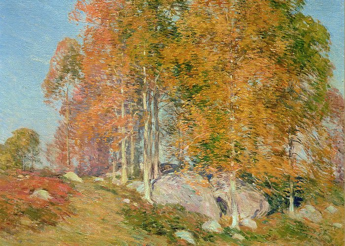 Early October Greeting Card featuring the painting Early October by Willard Leroy Metcalf