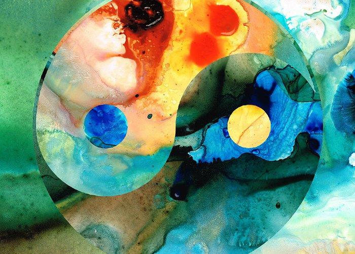 Yin Greeting Card featuring the painting Earth Balance - Yin And Yang Art by Sharon Cummings