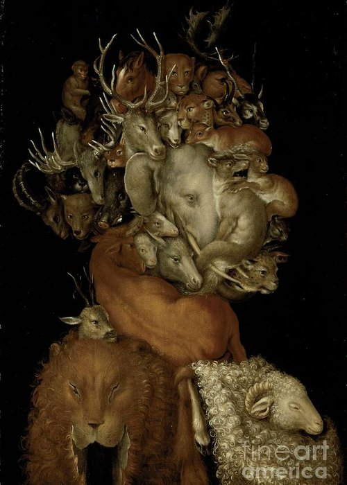 Elephant; Lion; Sheep; Deer; Grotesque; Allegory; Antlers; Horns; Face; Animal; Heads; Head; Game Greeting Card featuring the painting Earth by Giuseppe Arcimboldo