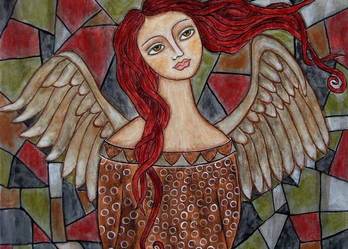 Folk Art Paintings Paintings Greeting Card featuring the painting Ecanus by Rain Ririn