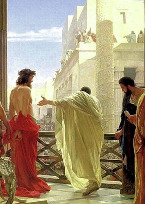 Ecce Homo Greeting Card featuring the painting Ecce Homo by Antonio Ciseri