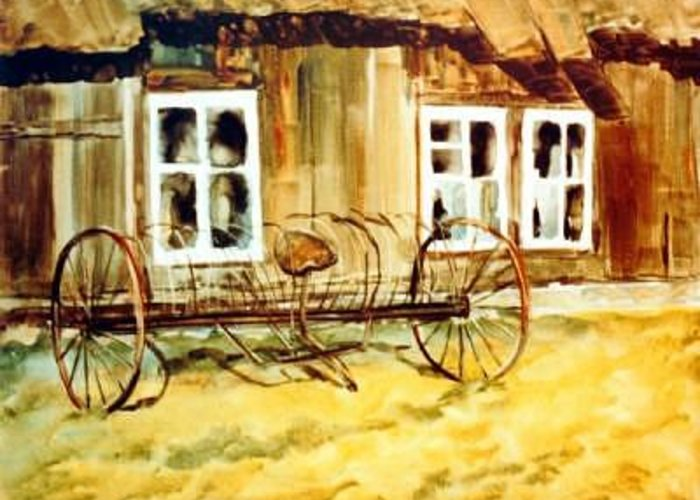 Farm Barn Greeting Card featuring the painting Ed' Hay Rake by Helen Hickey