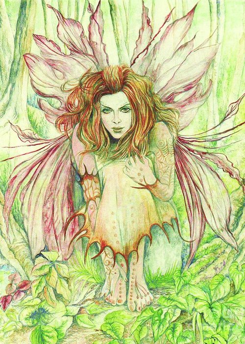 Edana Greeting Card featuring the painting Edana The Fairy Collection by Morgan Fitzsimons