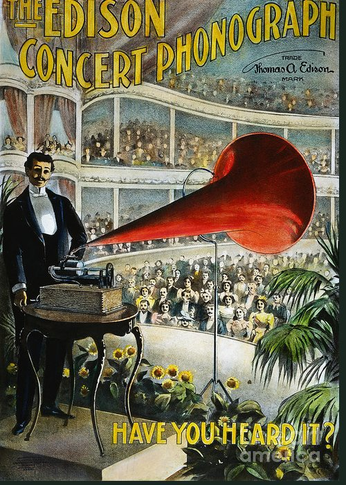1899 Greeting Card featuring the photograph Edison Phonograph Ad, 1899 by Granger