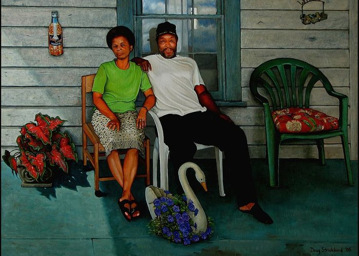 Doug Strickland Greeting Card featuring the painting Edna And Sammy Of Johnston County by Doug Strickland
