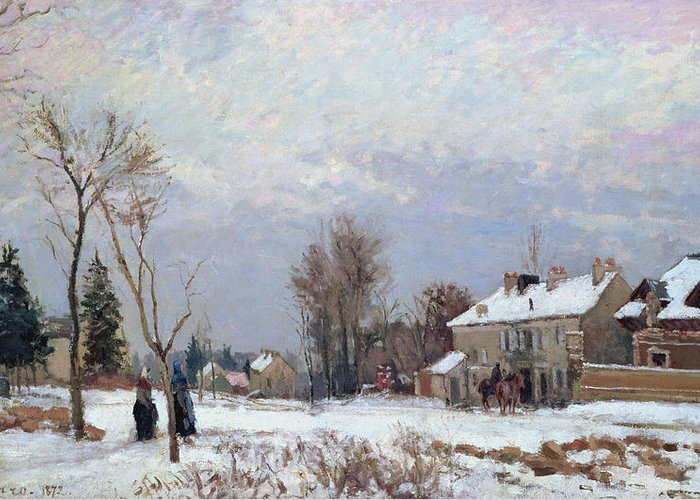 Road From Versailles To Saint-germain Greeting Card featuring the painting Effects Of Snow by Camille Pissarro
