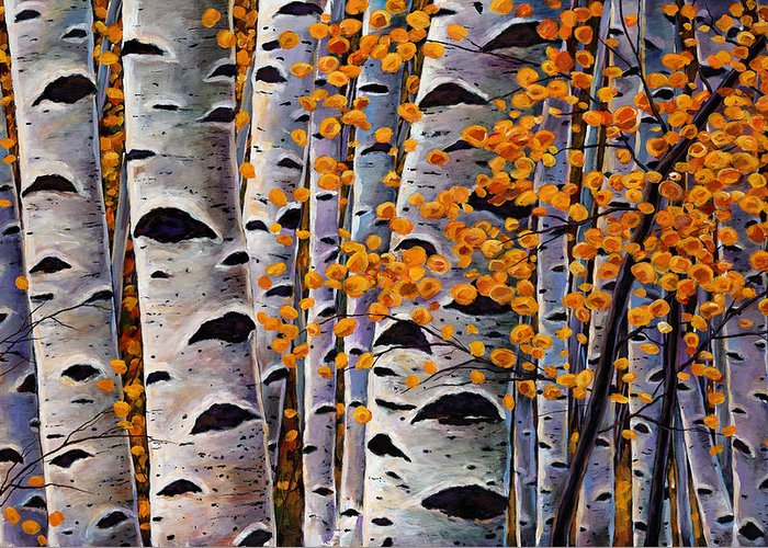 Aspen Greeting Card featuring the painting Effulgent October by Johnathan Harris