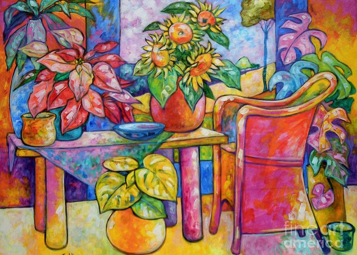 Representational Greeting Card featuring the painting Eighteen Past Twelve by Ana Goldberger