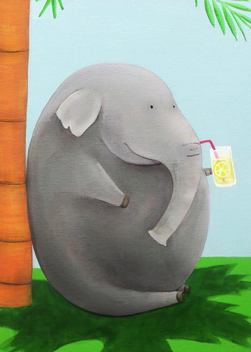 Elephant Greeting Card featuring the painting Elephant In The Shade by Lael Borduin