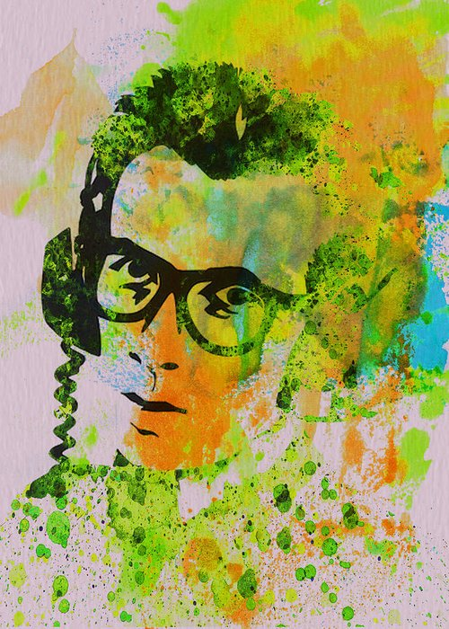 Elvis Costello Greeting Card featuring the painting Elvis Costello by Naxart Studio
