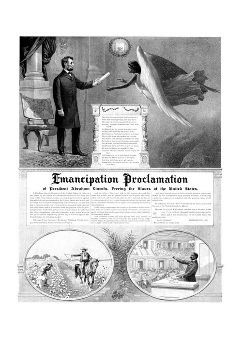 Emancipation Proclamation Greeting Card featuring the drawing Emancipation Proclamation by War Is Hell Store