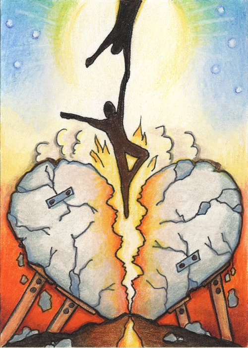 Act Greeting Card featuring the drawing Emotional Rescue by Amy S Turner