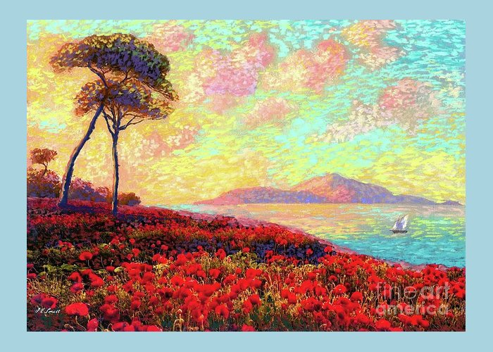 Poppies Greeting Card featuring the painting Enchanted By Poppies by Jane Small