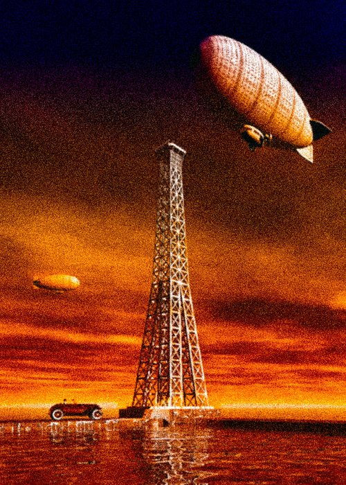 Airship Greeting Card featuring the digital art End Of The Road by Bob Orsillo