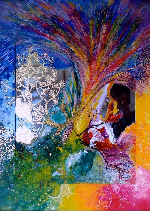 Energy Greeting Card featuring the painting Energy Explosion by Marie Halter
