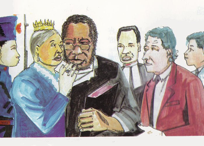Religion Greeting Card featuring the painting England Queen With Ajayi Crowther by Emmanuel Baliyanga
