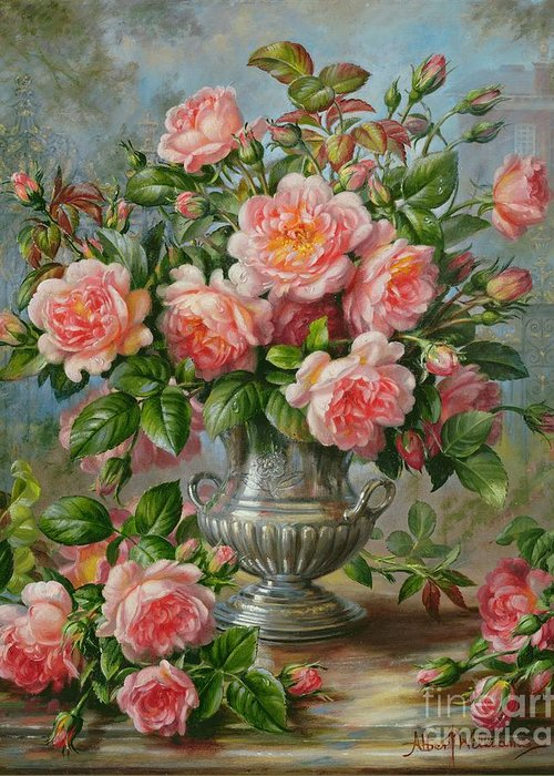 Still Life; Flower; Rose; Arrangement; Vase; Princess Of Wales (1981-96); Homage; Pink; Lady Diana Spencer; Lady Diana Greeting Card featuring the painting English Elegance Roses In A Silver Vase by Albert Williams