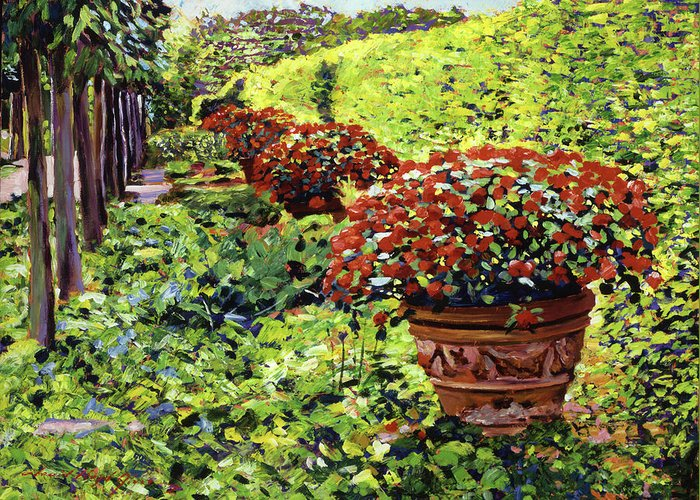 Flower Pots Greeting Card featuring the painting English Flower Pots by David Lloyd Glover