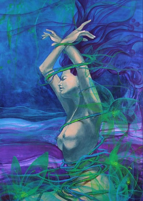 Art Greeting Card featuring the painting Entangled In Your Love... by Dorina Costras