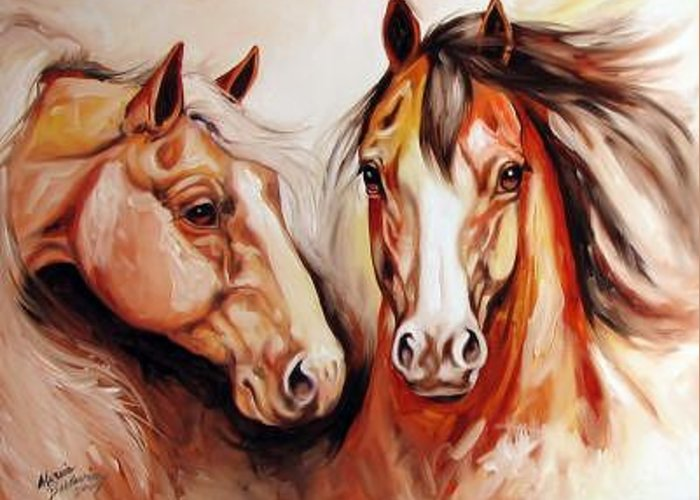 Horse Greeting Card featuring the painting Equine Power By M Baldwin A Spirit Horse Original by Marcia Baldwin