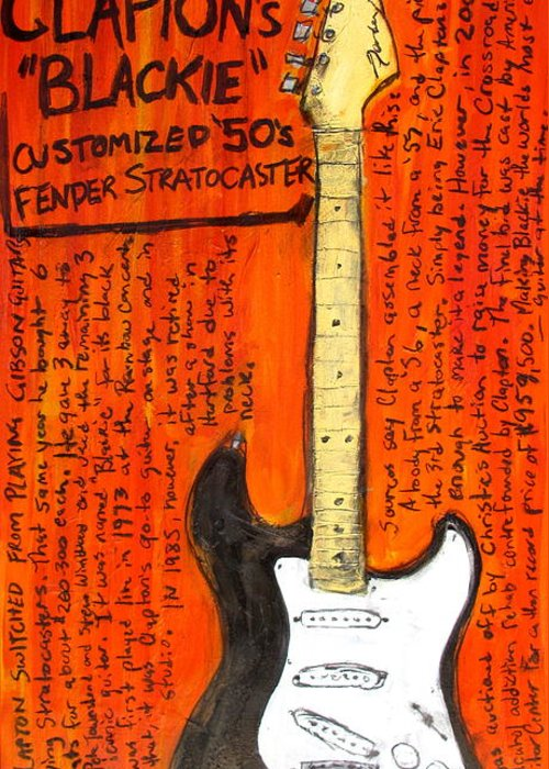 Eric Clapton Greeting Card featuring the painting Eric Claptons Stratocaster Blackie by Karl Haglund