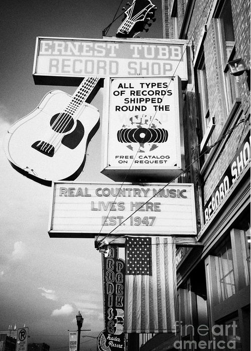 Broadway Greeting Card featuring the photograph ernest tubbs record shop on broadway downtown Nashville Tennessee USA by Joe Fox