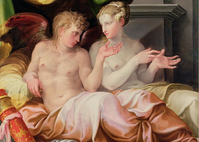 Eros And Psyche Greeting Card featuring the painting Eros And Psyche by Niccolo dell Abate