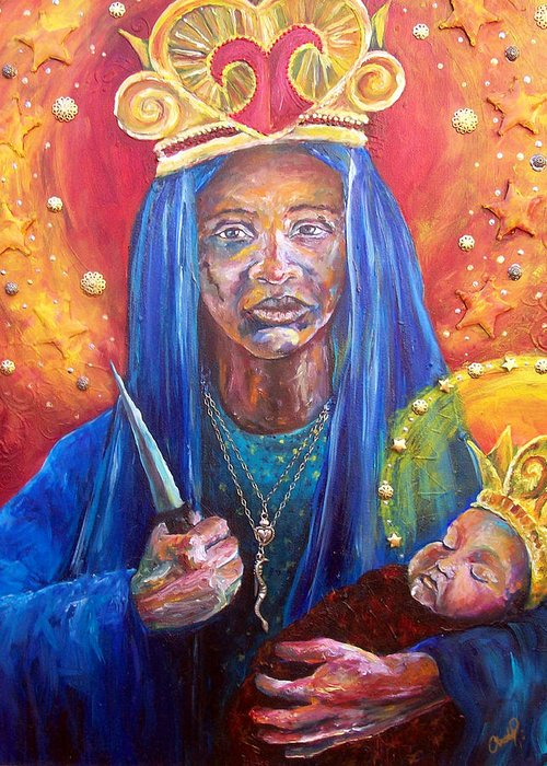 Erzulie Greeting Card featuring the painting Erzulie Dantor Portrait by Christy Freeman