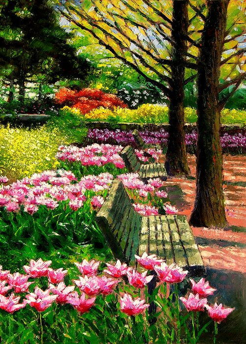 Spring Greeting Card featuring the painting Eternal Spring by John Lautermilch