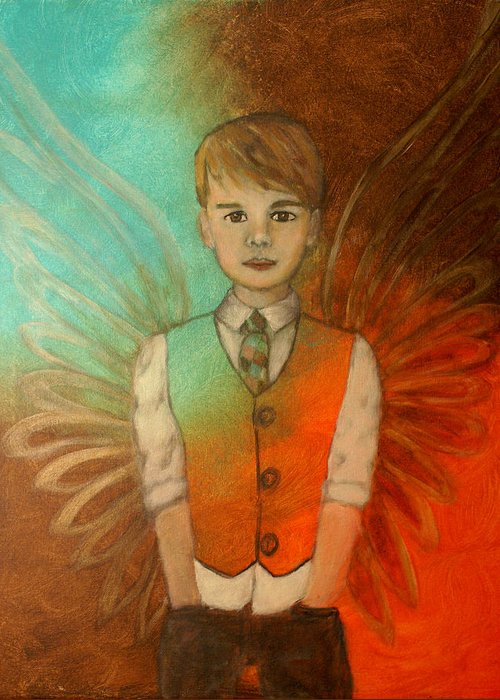 Angel Greeting Card featuring the painting Ethan Little Angel Of Strength And Confidence by The Art With A Heart By Charlotte Phillips