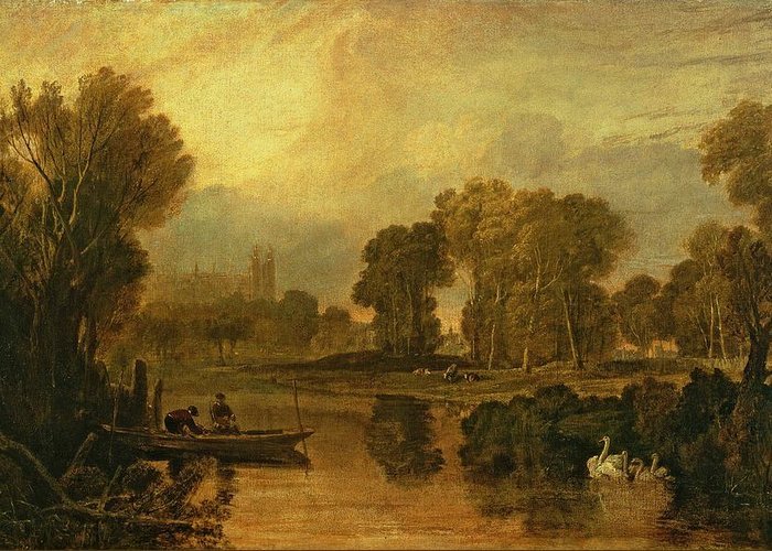 Eton Greeting Card featuring the painting Eton College From The River by Joseph Mallord William Turner