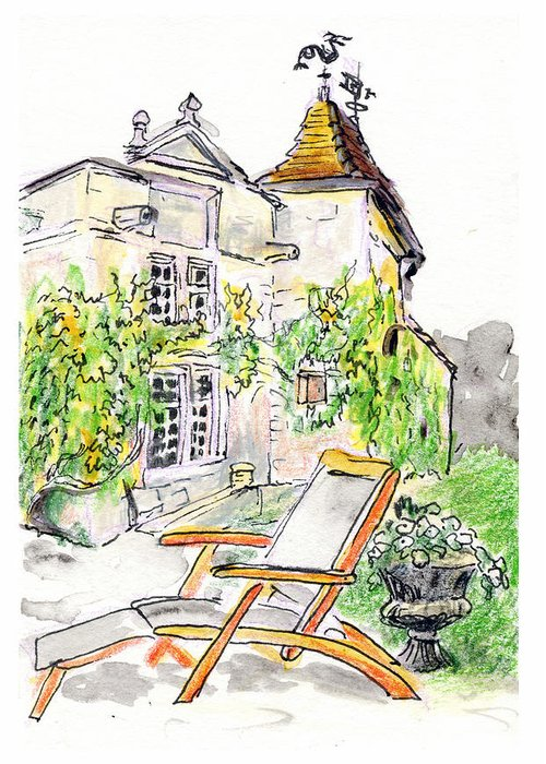 European Greeting Card featuring the painting European Chateau Lounge Chair by Tilly Strauss