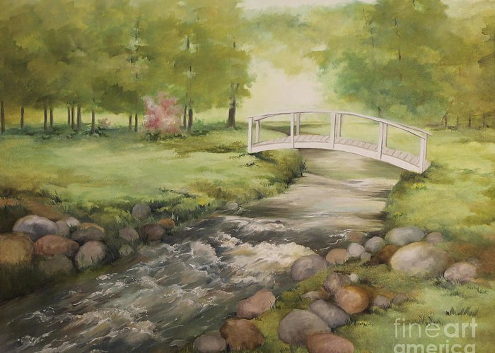 Becky West Greeting Card featuring the painting Evelyn's Creek by Becky West