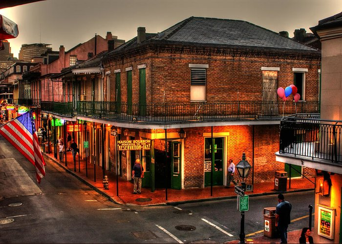 New Orleans Greeting Card featuring the photograph Evening On Bourbon by Greg and Chrystal Mimbs