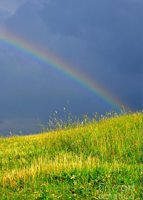 Summer Storm Greeting Card featuring the photograph Evening Rainbow Over Pasture Field by Thomas R Fletcher