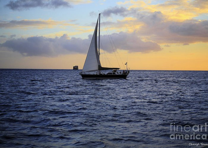 Images Of Ocean Greeting Card featuring the photograph Evening Sail by Cheryl Young