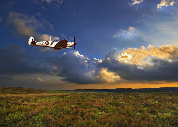 Spitfire Greeting Card featuring the photograph Evening Spitfire by Meirion Matthias