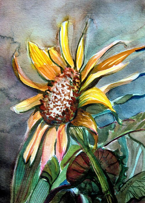Sunflower Greeting Card featuring the painting Evening Sun Flower by Mindy Newman