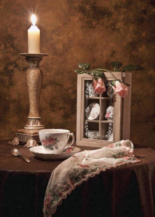 Teacup Greeting Card featuring the photograph Evening Tea Still Life by Tom Mc Nemar