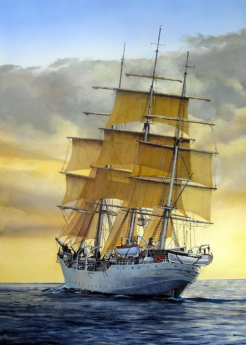 Sailing Ship Greeting Card featuring the painting Eventide by Tim Johnson