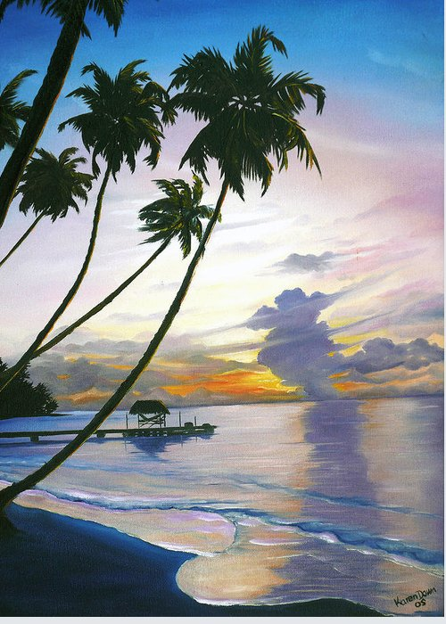 Ocean Painting Seascape Painting Beach Painting Sunset Painting Tropical Painting Tropical Painting Palm Tree Painting Tobago Painting Caribbean Painting Original Oil Of The Sun Setting Over Pigeon Point Tobago Greeting Card featuring the painting Eventide Tobago by Karin Dawn Kelshall- Best