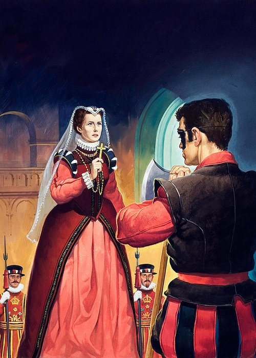 Execution Greeting Card featuring the painting Execution Of Mary Queen Of Scots by English School