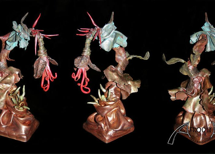 Clay Greeting Card featuring the sculpture Exotic Fantasy by Afrodita Ellerman