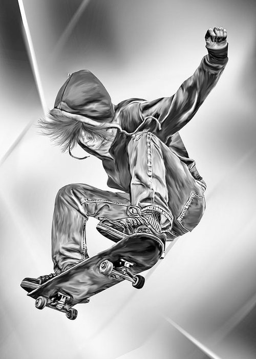 Extreme Greeting Card featuring the digital art Extreme Skateboard Jump by Julie L Hoddinott