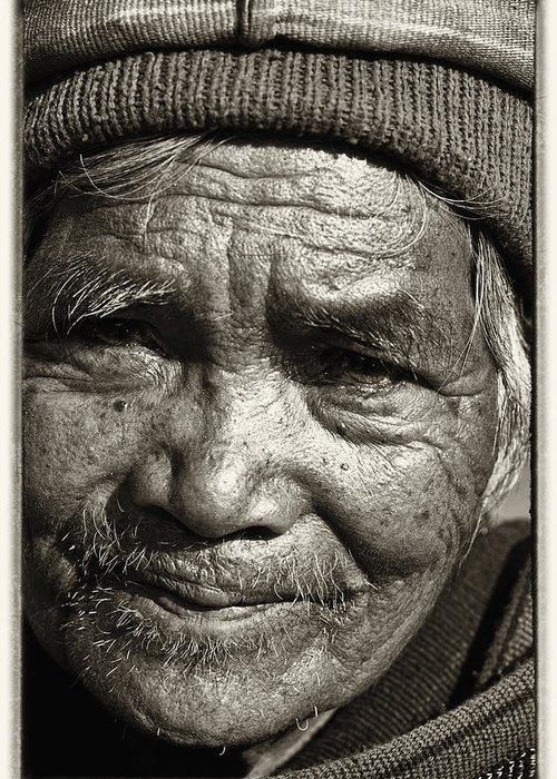 80-90 Yrs; Aborigine; Age; Aging; Art; Asia; Asian; Awe; Banaue; Close-up; Contemplation; Decor; Decoration; Detail; Fine Art; Glisten; Ifugao; Ifugao Province; Indian; Inspirational; Journey; Life; Loneliness; Male; Man; Memory; Milestone; Native; Old; One; Philippines; Photographic; Photography; Portrait; Reflection; Reverence; Spirituality; Toned; Toned Black And White; Tranquility; Travel Destinations; Tribal; Vertical; Weathered; World Heritage Sight; Worn; Wrinkled; Zen Greeting Card featuring the photograph Eyes Of Soul 2 by Skip Nall