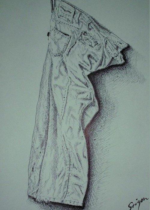 Pants Greeting Card featuring the drawing Fac Fidelis by SAIGON De Manila