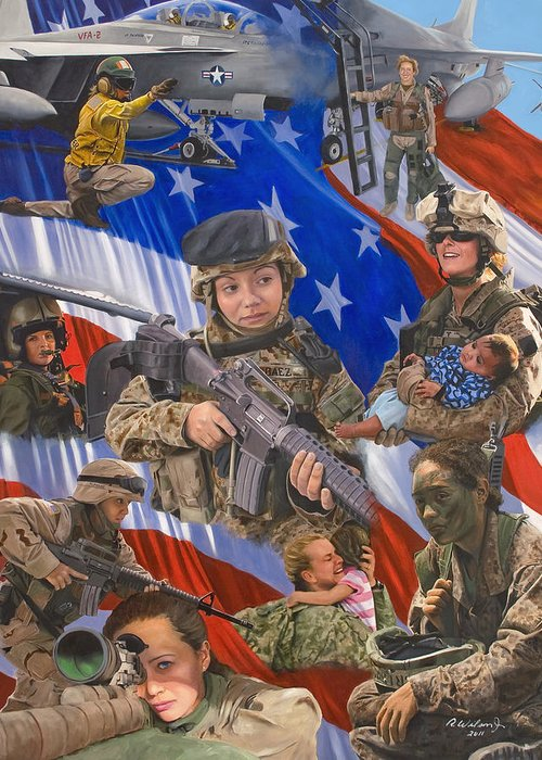 War Greeting Card featuring the painting Fair Faces Of Courage by Karen Wilson