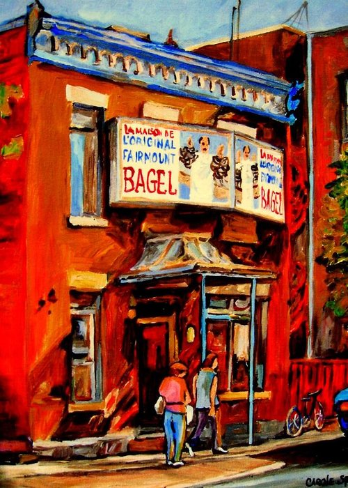Fairmount Bagel Greeting Card featuring the painting Fairmount Bagel Montreal by Carole Spandau